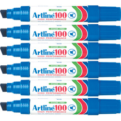 Artline 100 Permanent Marker Blue Pack of 6