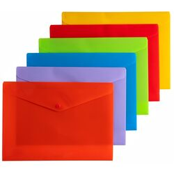 Document Wallets A4 Button Closure Pack of 12 Assorted Colours