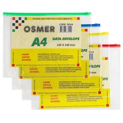 Clear Waterproof Envelopes with Zip Pack of 12 Assorted Colours A4