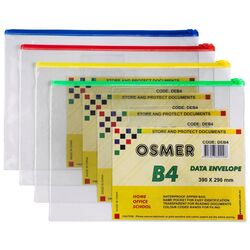 Clear Waterproof Envelopes with Zip Pack of 12 Assorted Colours B4