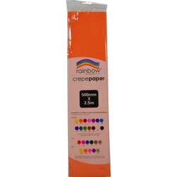 Crepe paper 250 x 50cm Single Sheet Orange