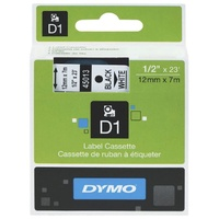 DYMO D1 Label Replacement Tape 12mm x 7m Black on White