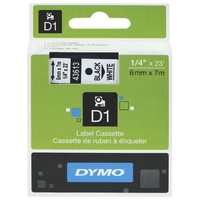 DYMO D1 Label Replacement Tape 6mm x 7m Black on White