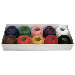 Embroidery Cotton #8  Pk 10 Assorted Colours - 160m each