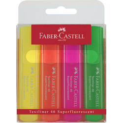 Faber-Castell Textliner Highlighters Assorted 4 Pack
