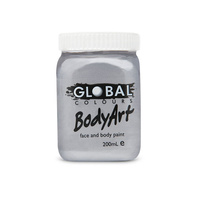 Global Face & Body Paint Bodyart 200ml Metallic Silver