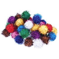 Glitter Pom Poms 12mm x 100 Pieces