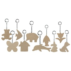 Key Chain Wooden Tag Assorted Pk 10