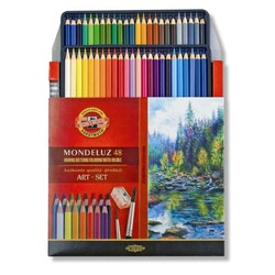 Koh-i-noor Mondeluz Aquarelle Watercolour Pencils Box of 48