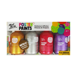 Mont Marte Poster Paint 250ml Set of 4 Metallic