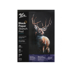 Mont Marte Signature Black Paper Sketch Pad 140gsm A4 25 Sheet