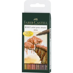 Faber Castell PITT Artist Pens Set of 6 Terra Colours