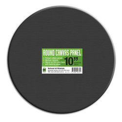 "Round Canvas Panel 12""/ 30 cm diameter, 12 pack - BLACK"