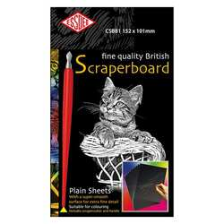 Scratch Art White reveal, 10 Sheets of 152 x 101mm Scrapercutter and Handle