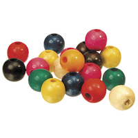 Coloured Wooden Beads 16mm Round Bag of 100