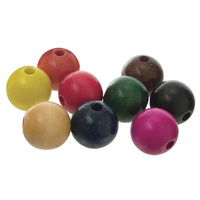 Coloured Wooden Beads 25mm Round Bag of 100